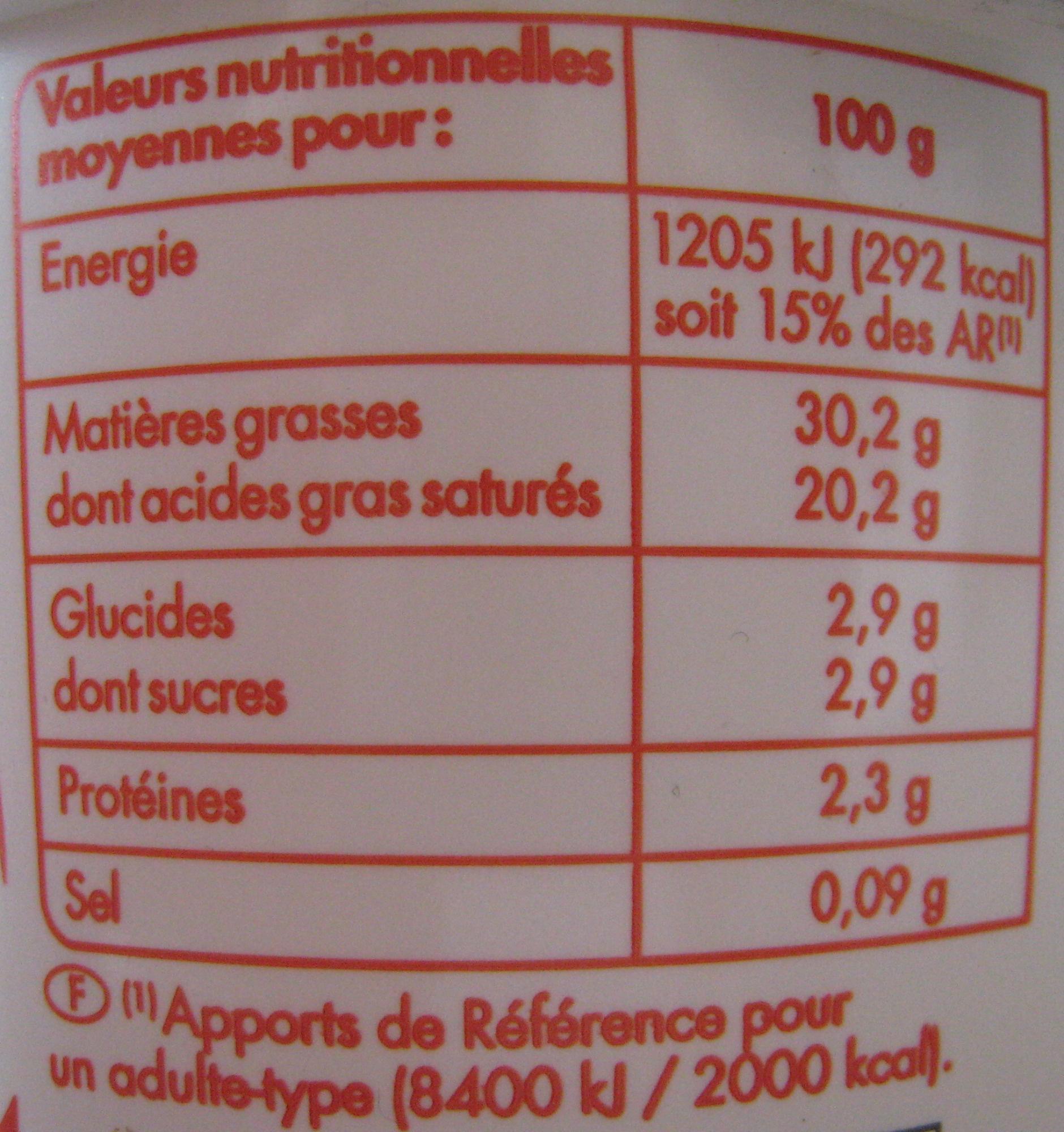Crème Fraîche Épaisse Entière (30 % MG) - Voedigswaarden