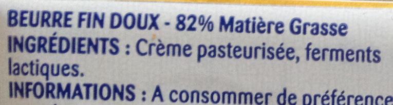 Beurre Gastronomique Doux - Ingredientes