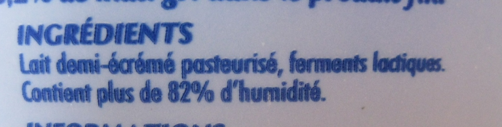 Fromage Blanc 3,2% MAT. GR. sur poids total - Ingredients