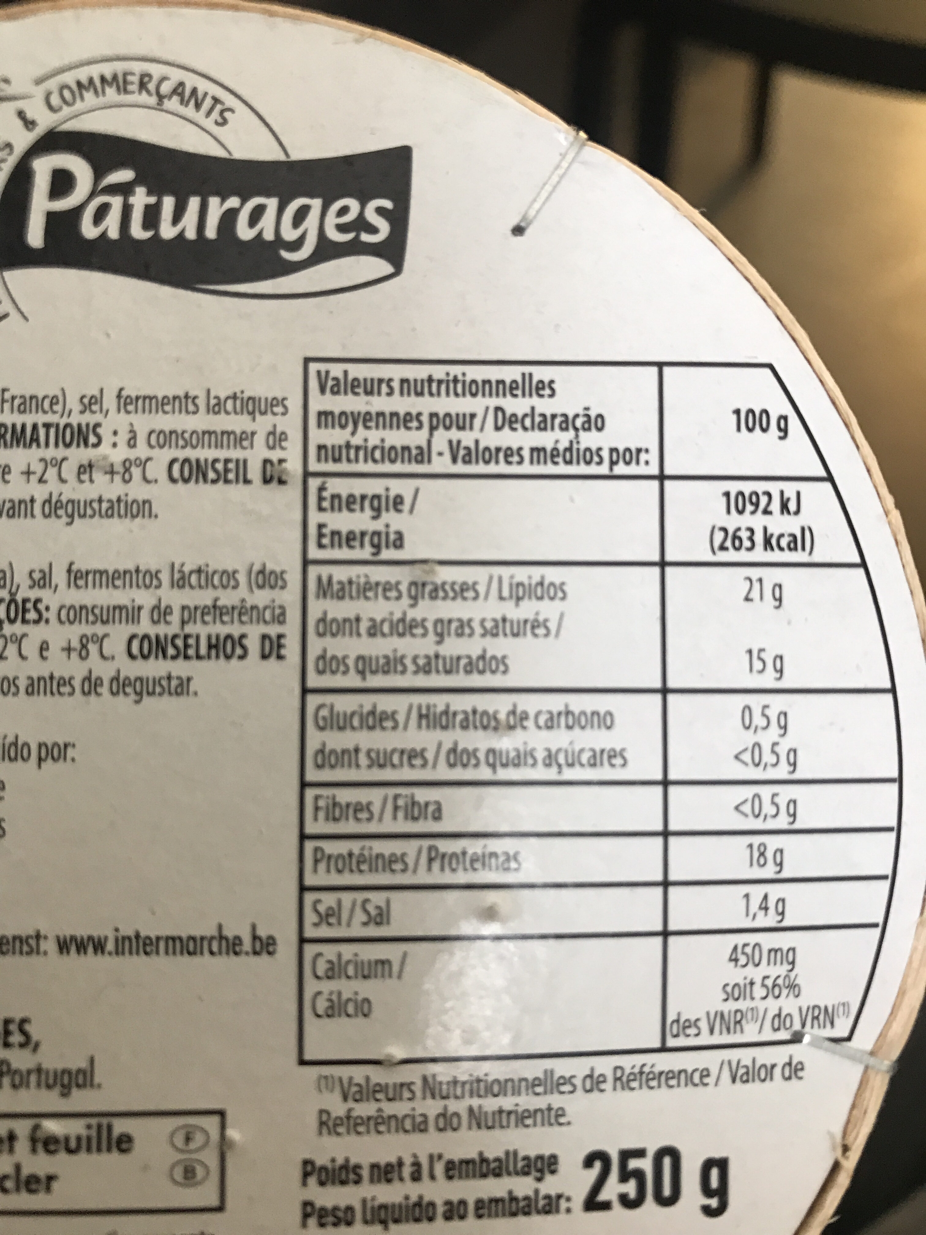 Camembert - Nutrition facts - fr