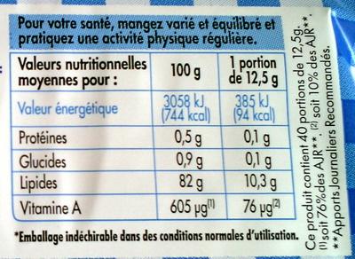 Beurre moulé doux - Nutrition facts
