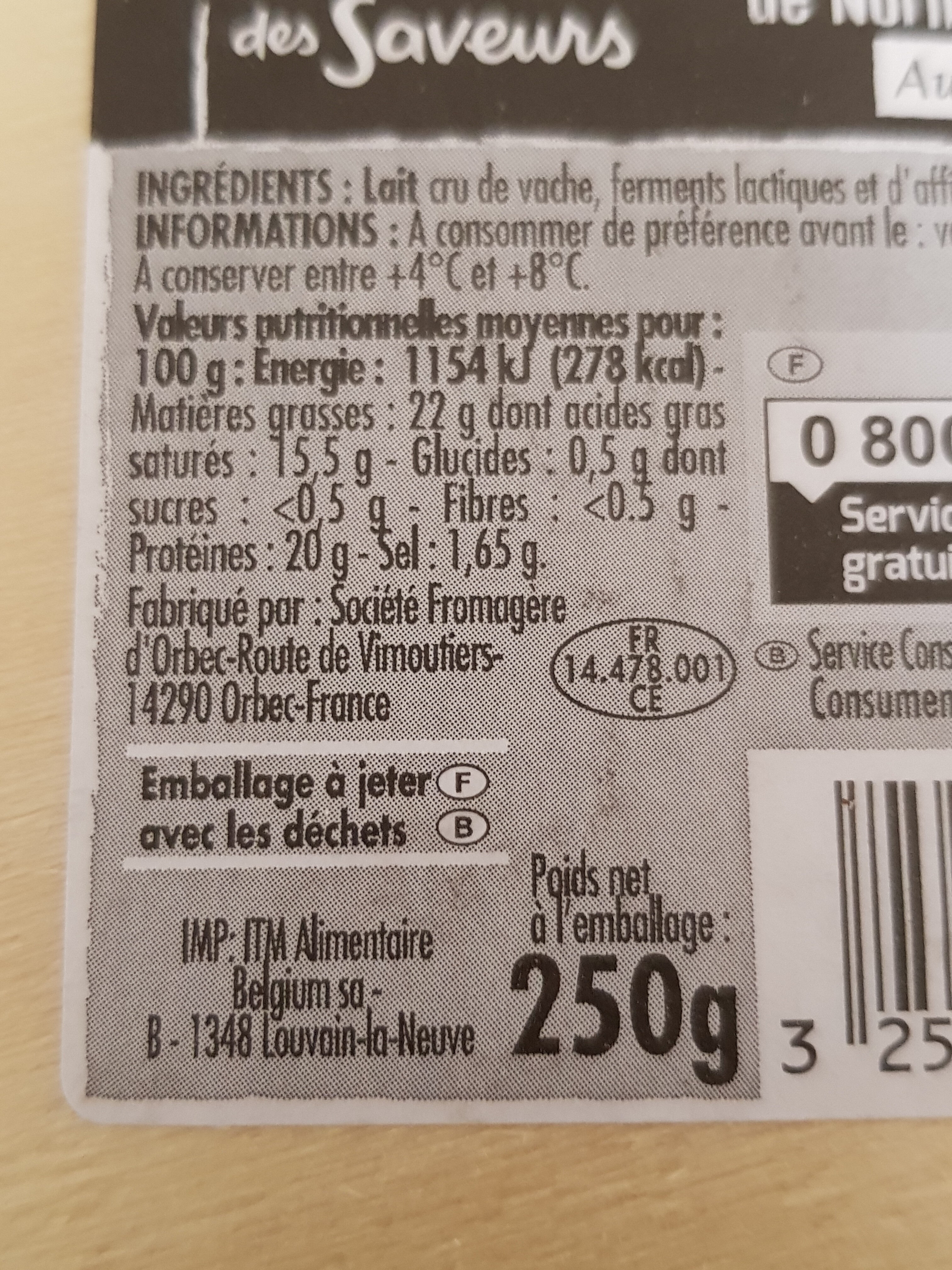 Camembert de Normandie AOP au lait cru - Recycling instructions and/or packaging information - fr