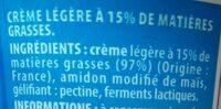 Crème épaisse légére - Ingrediënten - fr