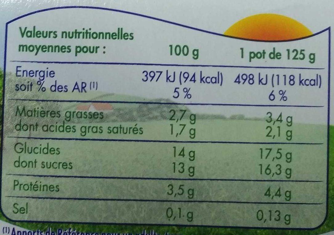 Yaourt Aux Fruits 12 x 125 g - Frutimax - Informations nutritionnelles - fr