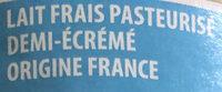 Lait frais demi-écrémé - Ingrédients - fr