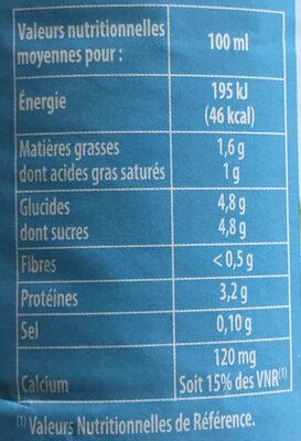 Lait frais demi-écrémé - Informations nutritionnelles - fr