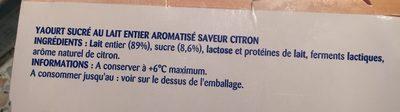 Yaourt au lait entier saveur citron - Ingredients - fr