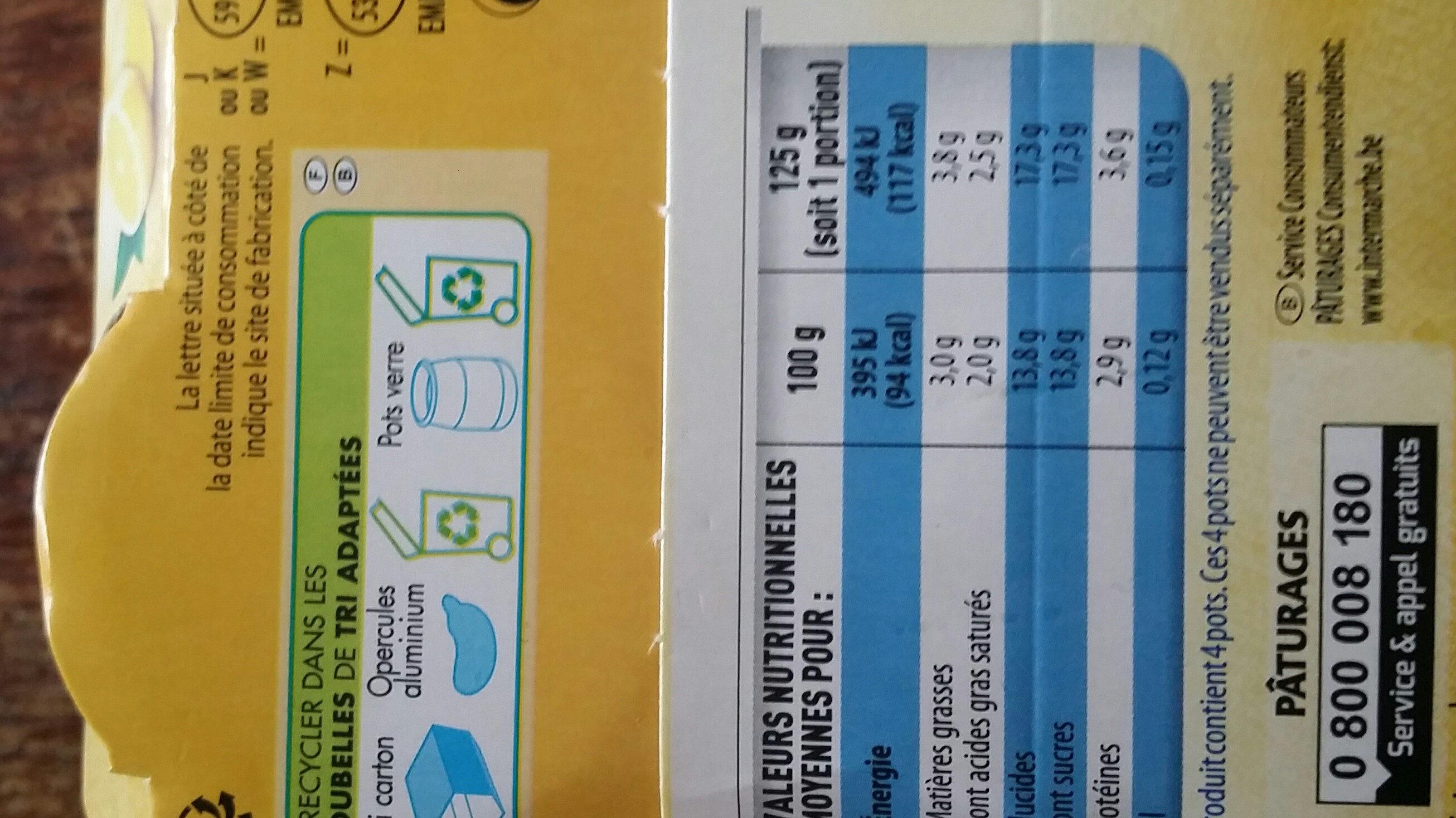 Yaourt au lait entier saveur citron - Nutrition facts - fr
