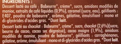 8 Liégeois Pâturages: 4 Chocolat, 4 café - Ingredients