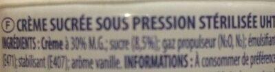 Crème fouetté entière - Ingrédients - fr