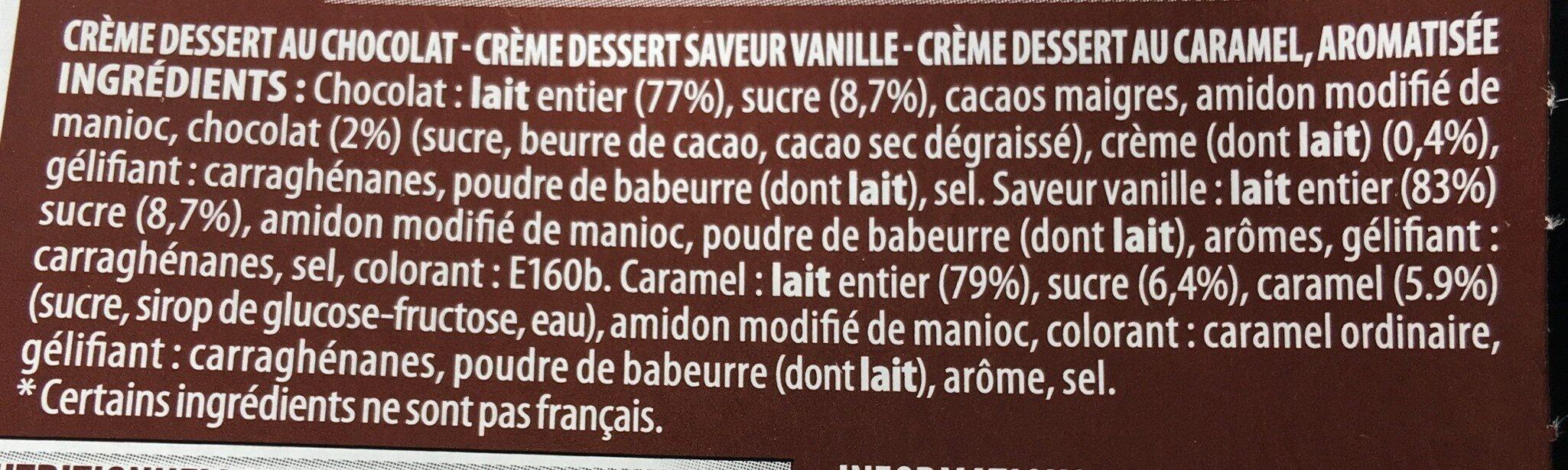 Paturette 4 chocolat 4 caramel 4 saveur vanille - Ingrédients - fr