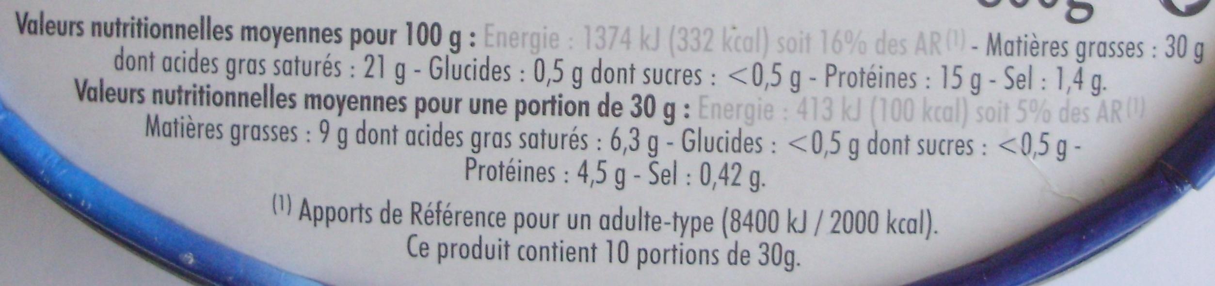 Fleur d'ange - Nutrition facts - fr