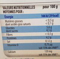 Printiligne nature (0 % MG) 12 pots - Informations nutritionnelles - fr