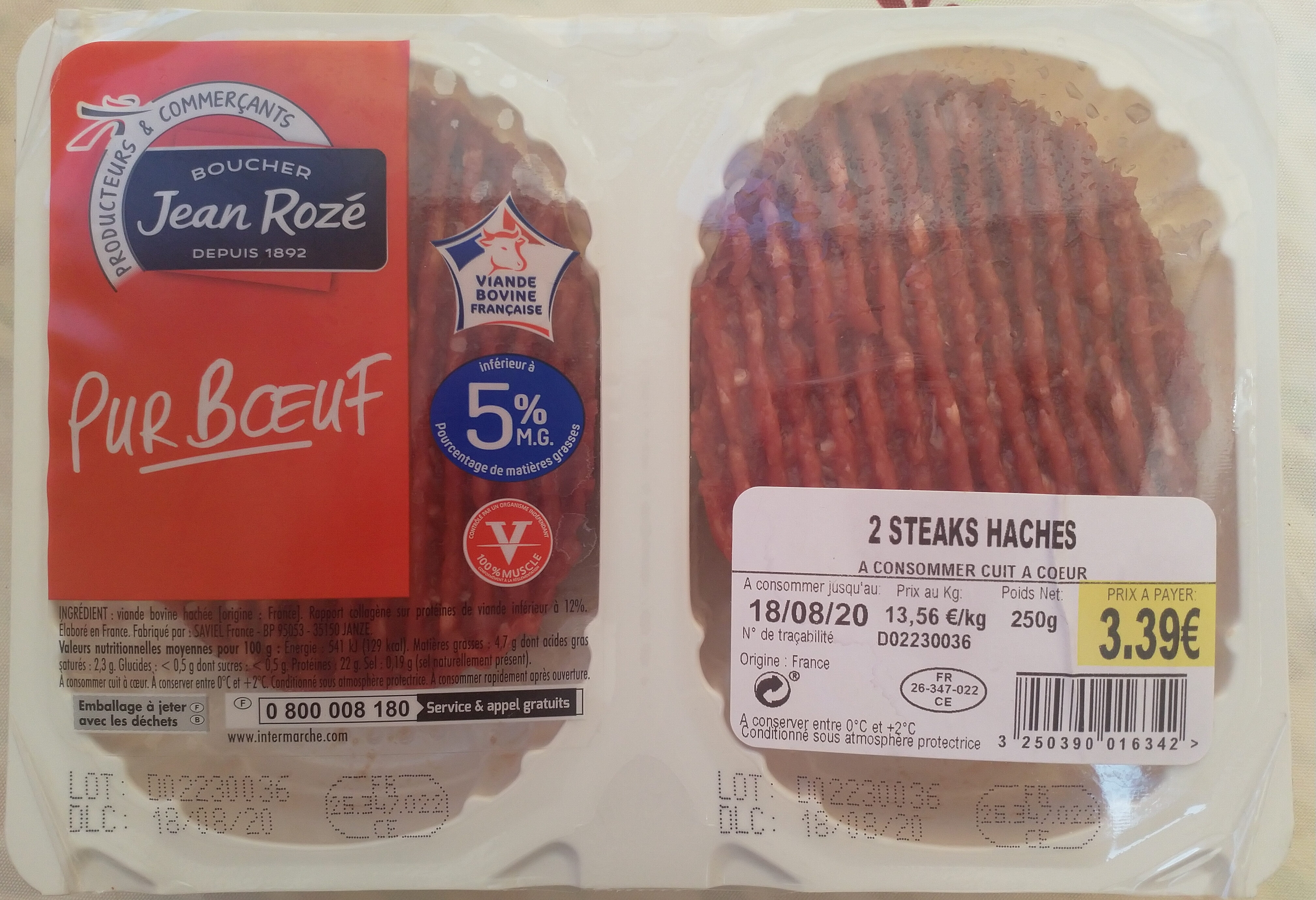 2 Steaks Hachés (5 % MG), Pur Bœuf - Product - fr