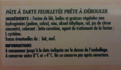 Pate feuilletée - Ingrédients - fr