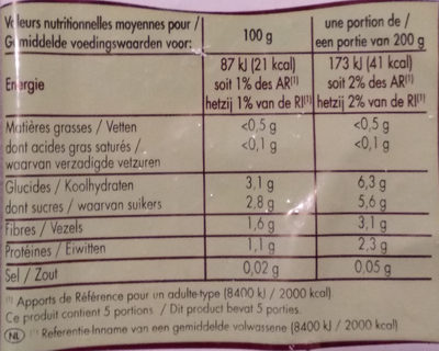Légumes Pour Ratatouille 1 kg - Informations nutritionnelles - fr