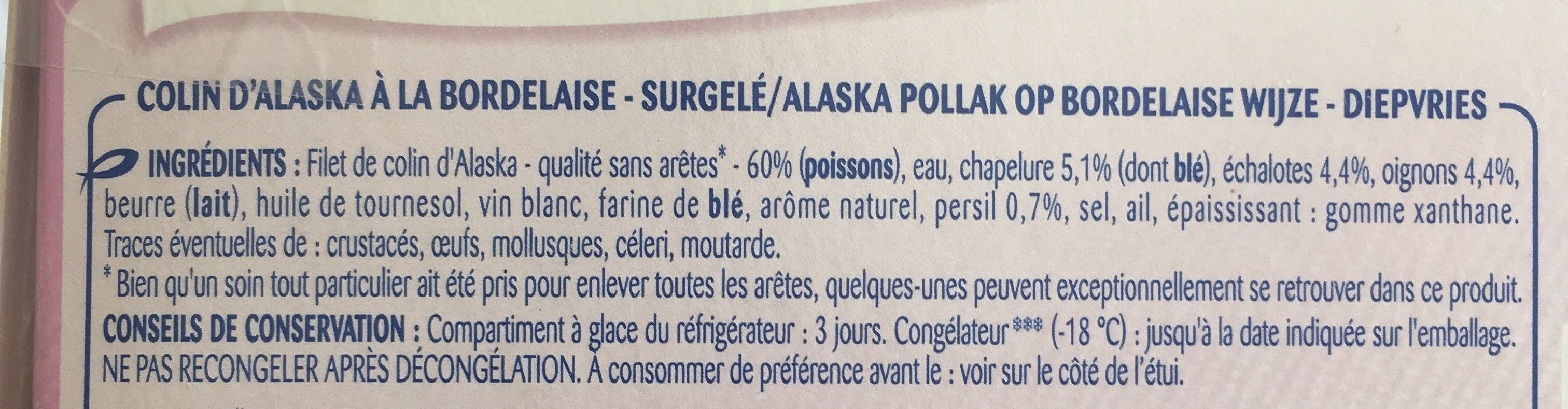 Colin d'Alaska à la Bordelaise, Surgelé - Ingredients - fr