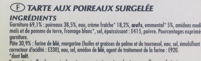 Tarte aux poireaux - Ingrédients
