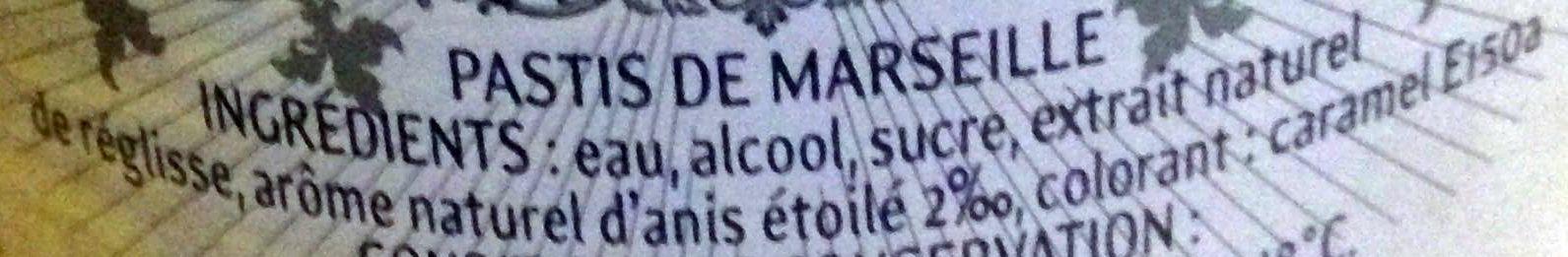 Pastis de Marseille - Ingredienti - fr