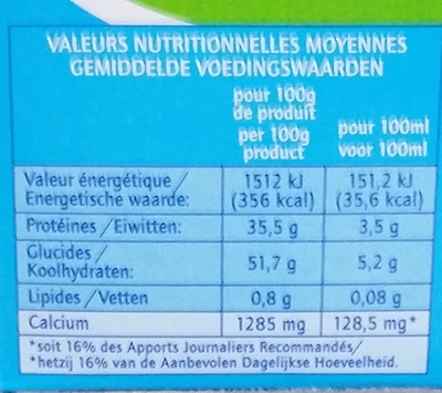 Lait écrémé en poudre - Nutrition facts