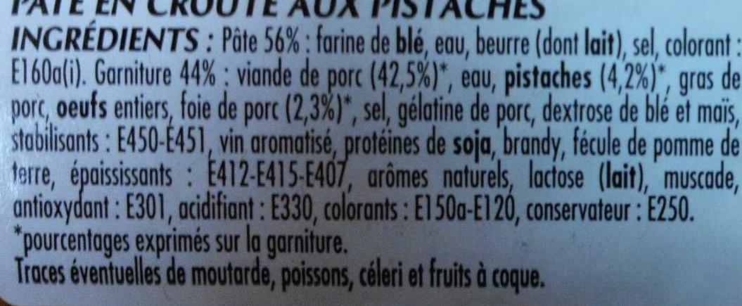 Pâté en croûte Cocktail pistaches - Ingredients