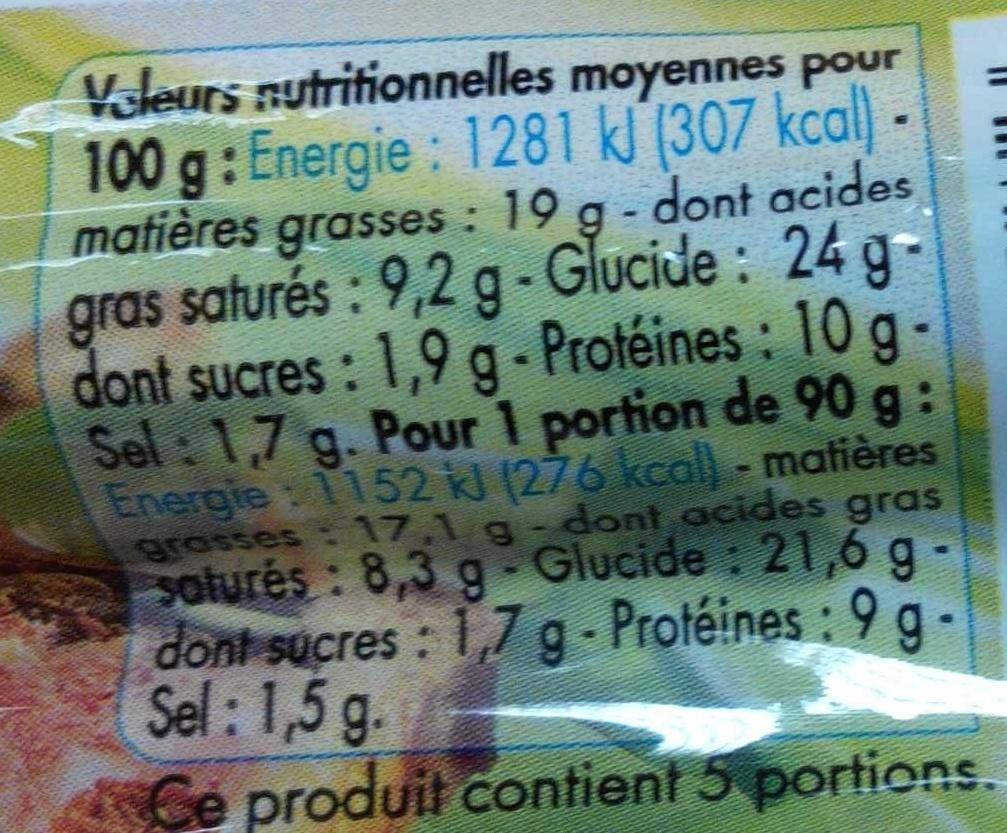 Pâté en croûte Cocktail pistaches - Nutrition facts