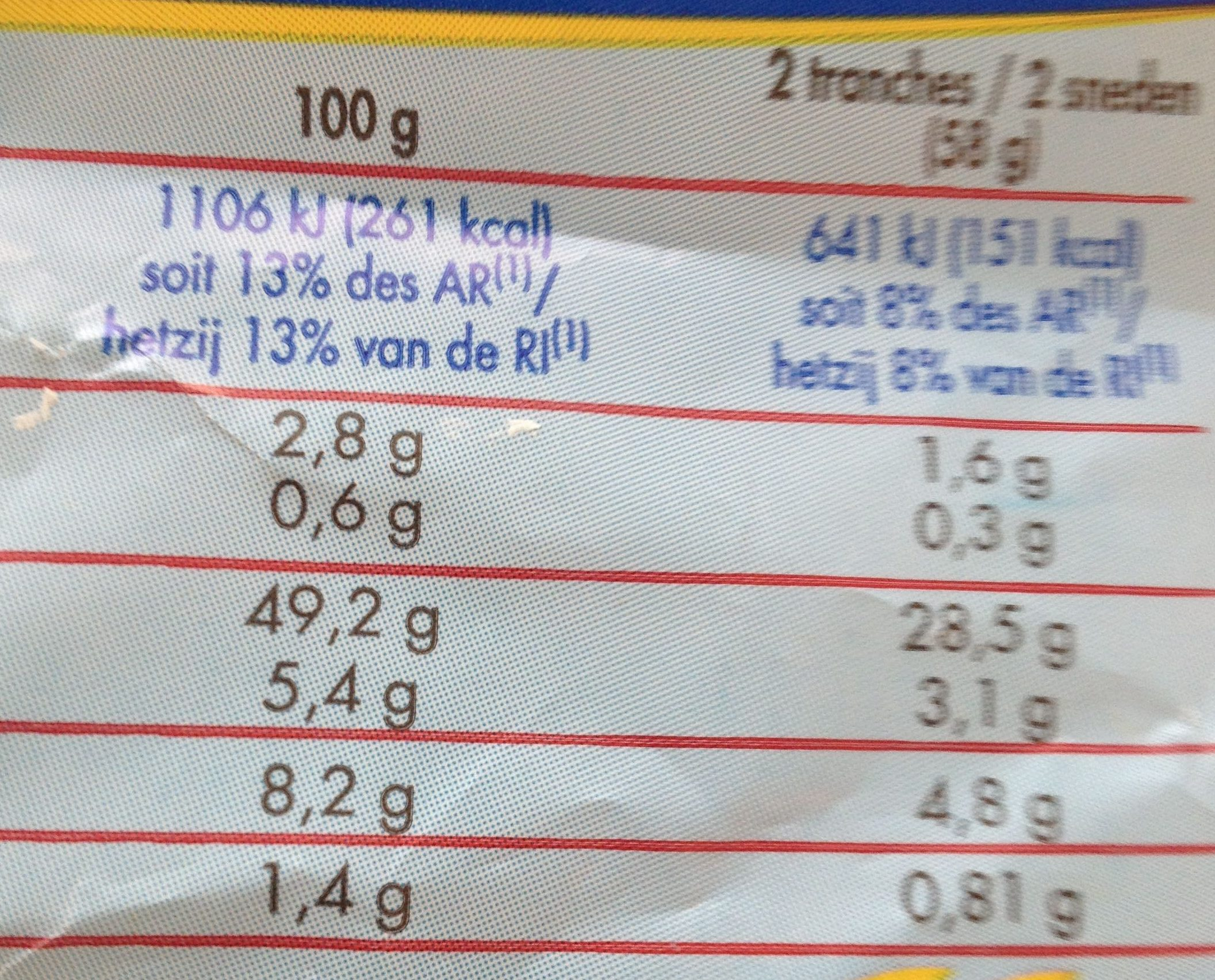 Extra Moelleux Nature 750 gr - Nutrition facts