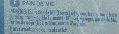 Pain de mie nature extra moelleux - Ingredients - fr