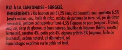 Riz Cantonais ,Surgelé - Ingrediënten - fr