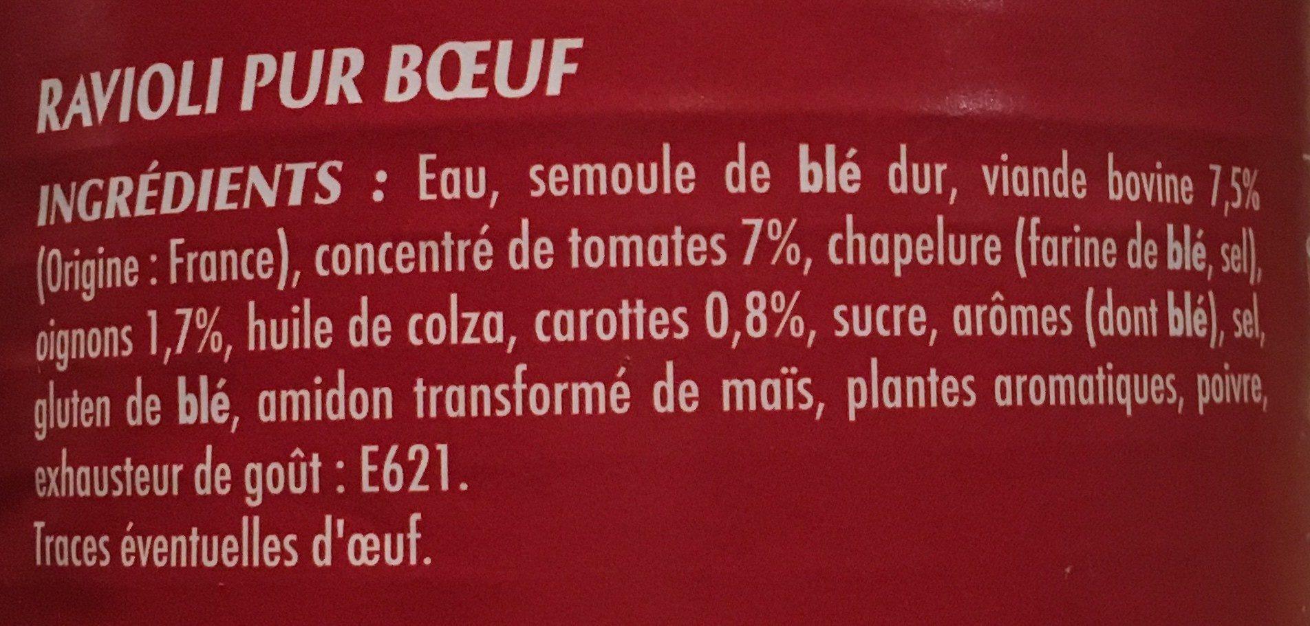 Ravioli pur bœuf - Ingredients - fr