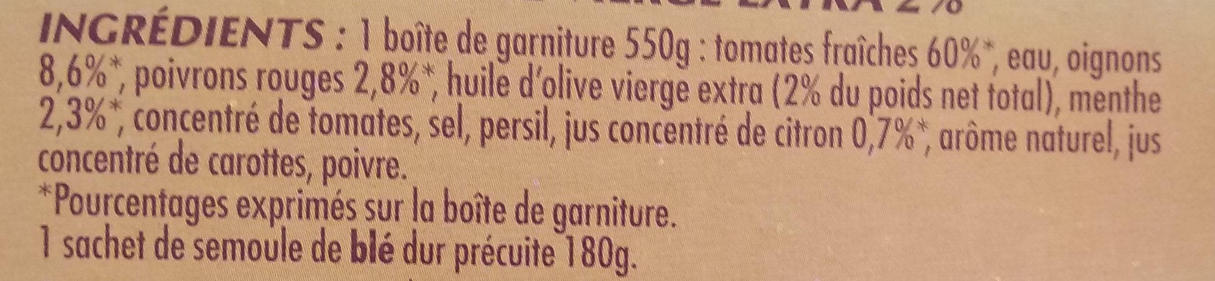 Taboulé menthe & huile d'olive - Ingredients - fr