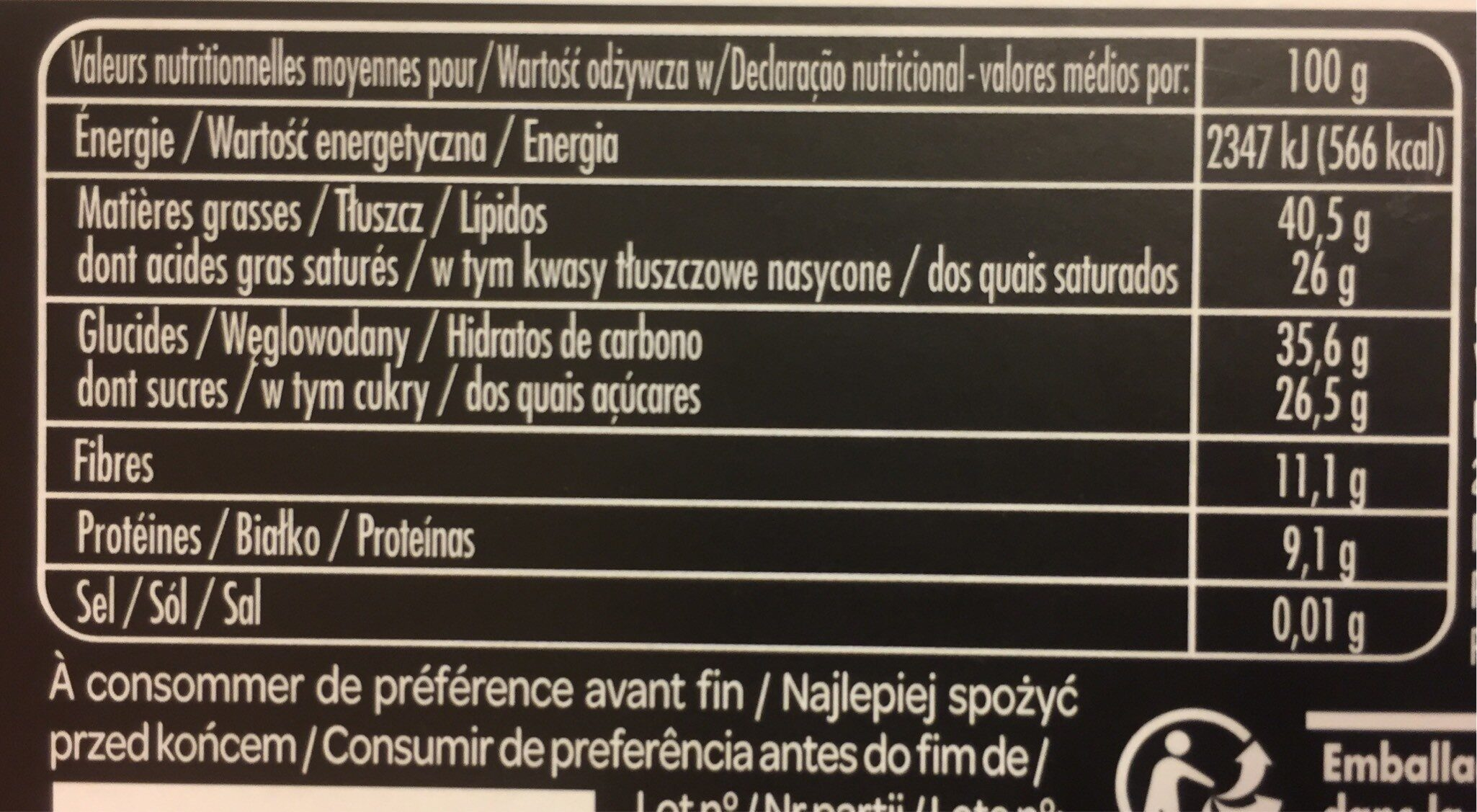 L'envoûtant chocolat noir 70% - Voedingswaarden - fr