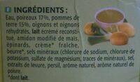 Velouté  poireaux pommes de terre - Ingrédients - fr