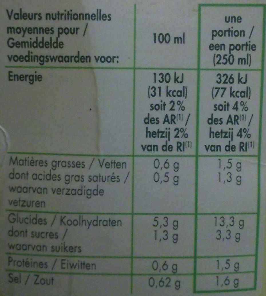 Velouté  poireaux pommes de terre - Informations nutritionnelles - fr