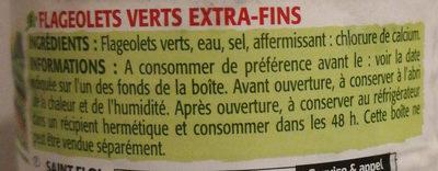Flageolets verts extra fins, - Ingrédients - fr