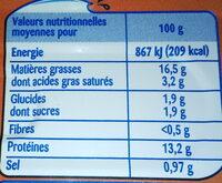 Filets de maquereaux sauce moutarde - Valori nutrizionali - fr