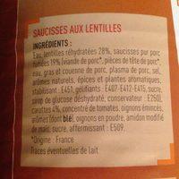 Saucisses Aux Lentilles 840g - Ingrédients - fr
