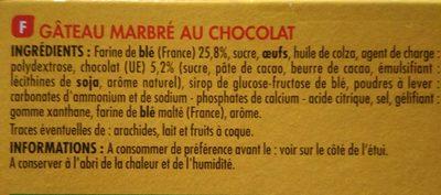 Le marbré au chocolat - Ingredients - fr