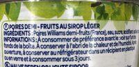 Poires au sirop - Ingrédients - fr