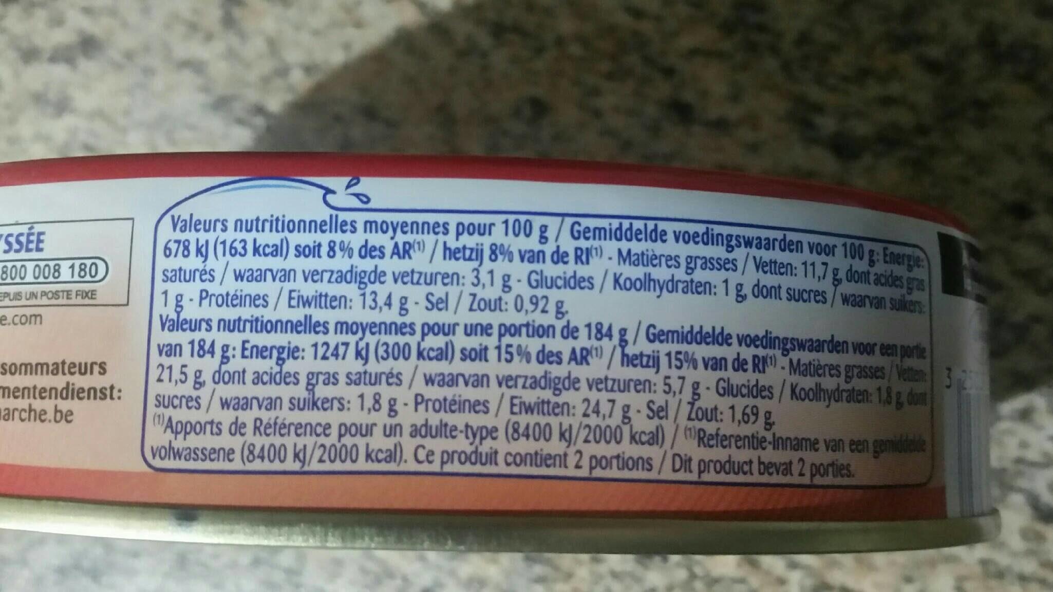 Pilchards Harengs à La Tomate Et à L'huile, La Boîte, 367g - Voedingswaarden - fr