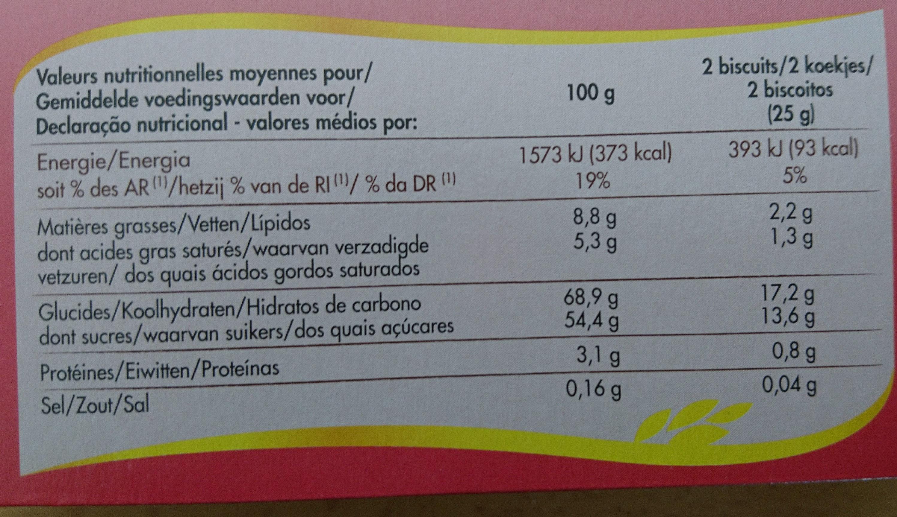 Génoises fourrées framboise - Voedingswaarden