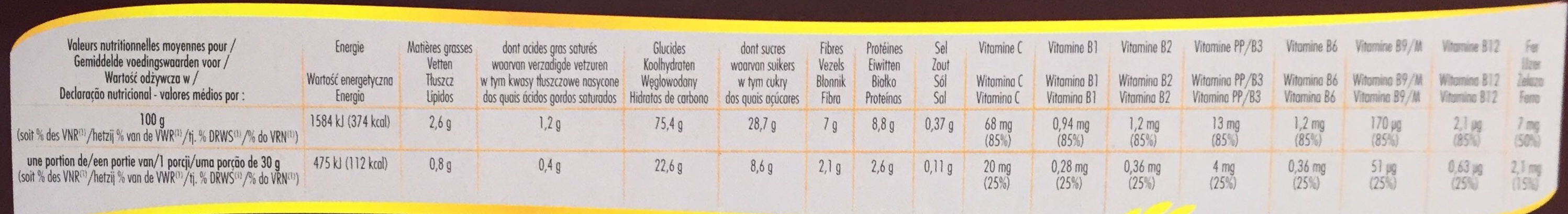 Petal' Choco - Nutrition facts