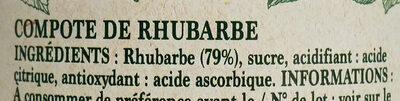 Compote Rhubarbe - Ingrédients - fr