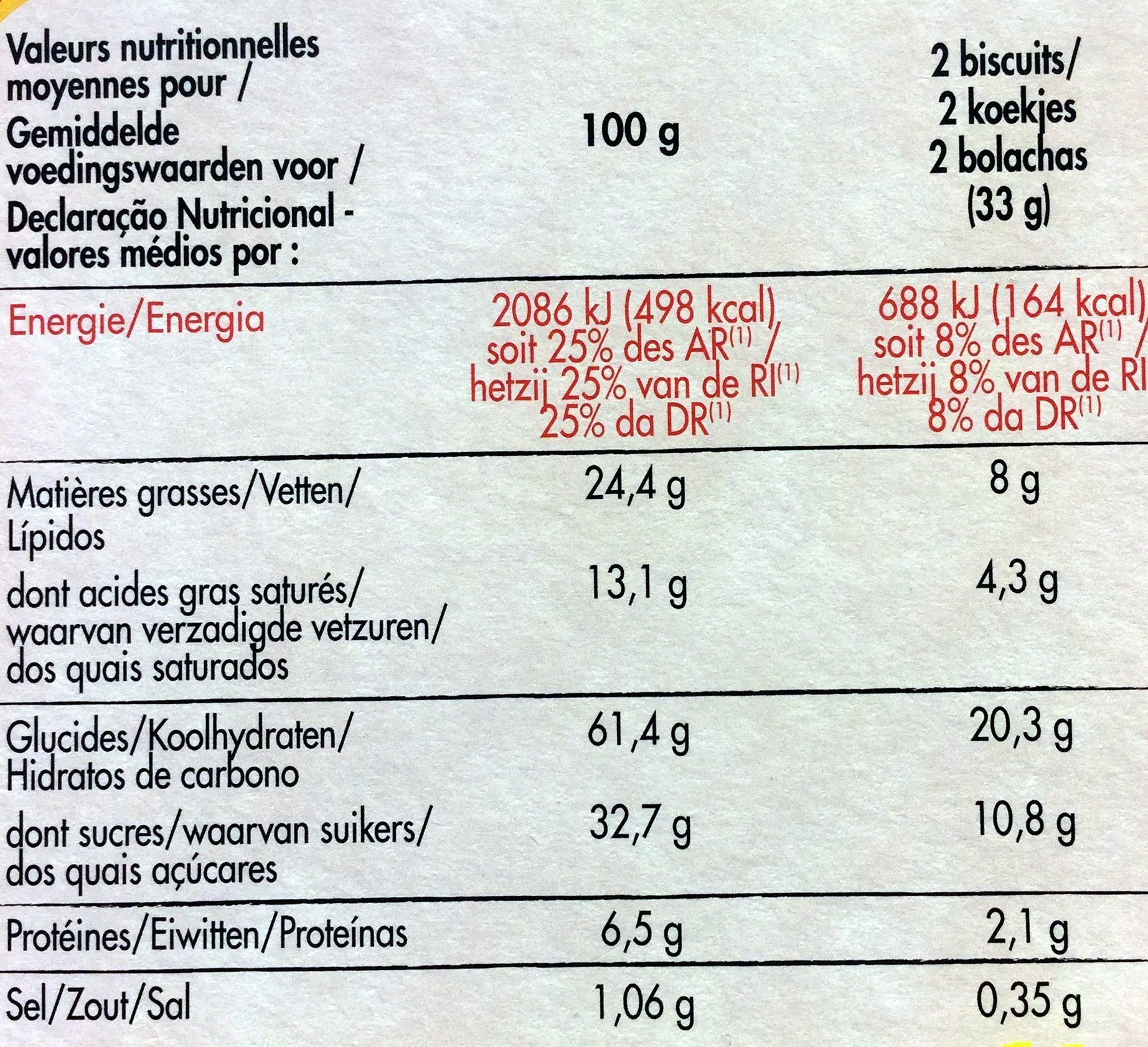 Cookies Choco Pepit' - Nutrition facts