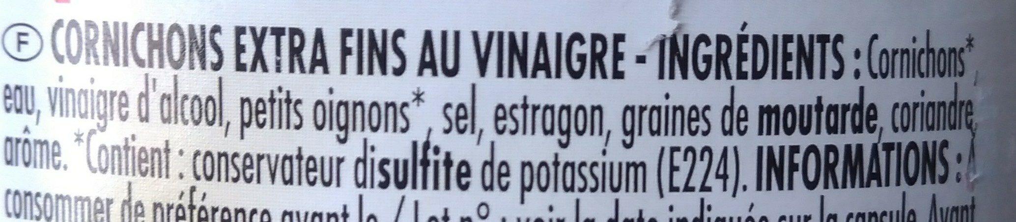 Les Cornichons extra fins - Ingrédients - fr