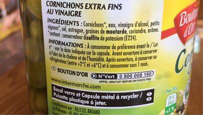 Cornichons Croquants extra-fins - Ingrédients