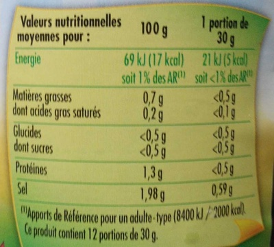 Cornichons Croquants extra-fins - Nutrition facts - fr
