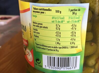 Les cornichons croquants extra fins - Nutrition facts - fr