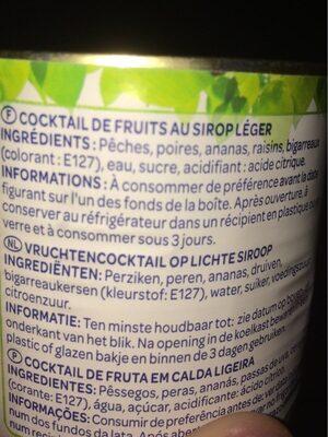 Cocktail de fruits  au sirop léger - Ingredients
