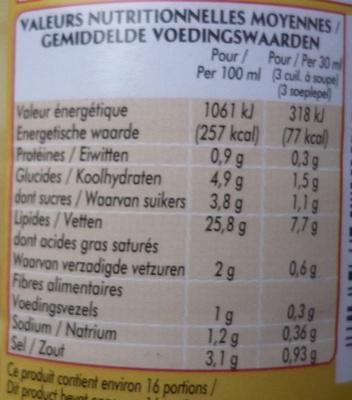 Vinaigrette à la Moutarde à l'ancienne (25,8 % MG) - Nutrition facts - fr